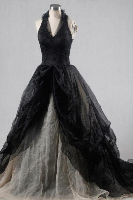 V Neck Tulle Real Picture Black Gothic Wedding Dresses Wedding Gown C34