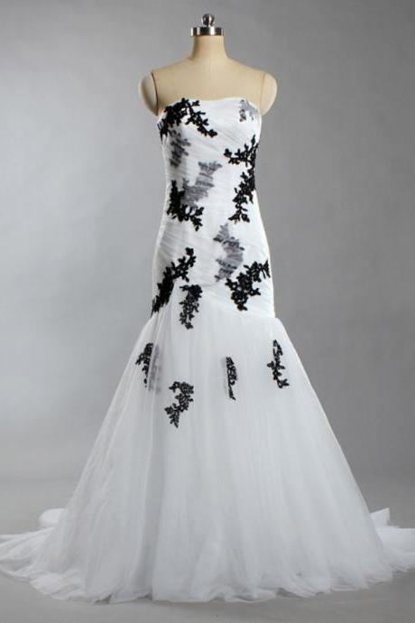 Women's Strapless Flowers Tulle Ball Gown White and Black Wedding Dresses For Bride C54