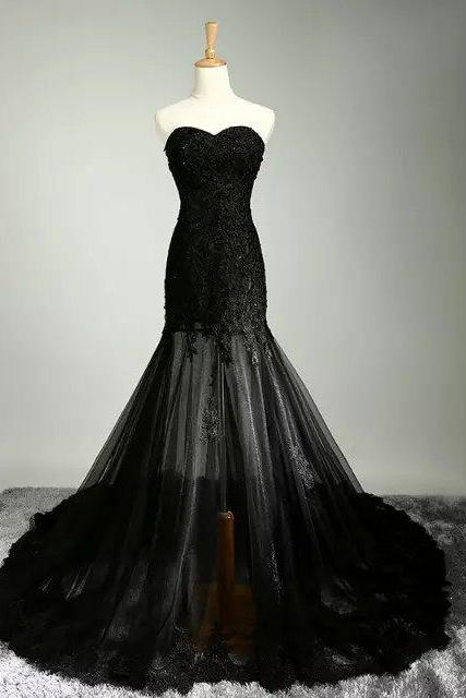 Special lace wedding dresses black color mermaid back appliques chapel train sweetheart dresses C69