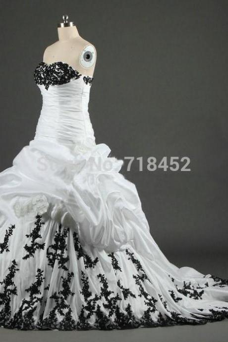 White and Black Wedding Dresses Real Photo Organza Appliques Bridal Gown Sweetheart Lace Up Back C78