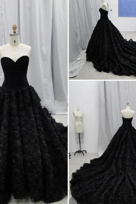 Chich Gothic Wedding Dresses Ball Gowns Sweetheart Handmade Flowers Corset Chapel Wedding Dresses Vintage Black C85