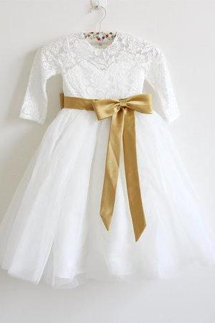 Long Sleeves Light Ivory Flower Girl Dress Lace Tulle Flower Girl Dress With Gold Sash/Bows Floor-length D8