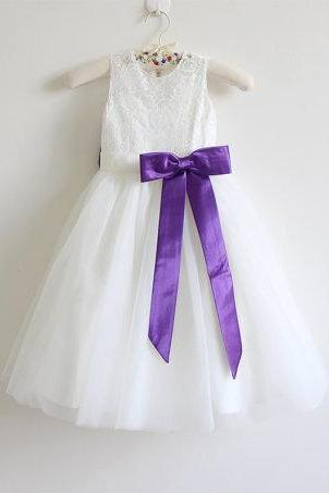 Ivory Flower Girl Dress Purple Baby Girls Dress Lace Tulle Flower Girl Dress With Purple Sash/Bows Floor-length D18