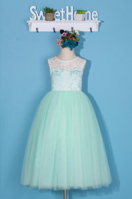 Mint flower girl dress/lace pageant dress/toddler girl dress/mint green tulle dress/lace flower girl dress/backless lace dress for wedding D23