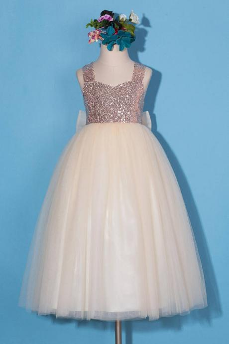 Rose gold flower girl dress, sequins pageant dress, rose gold sequins dress, girls party dress, birthday party dress, dress with tulle bow D27