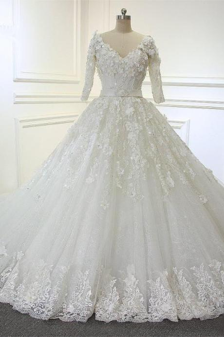 New Fashion Actual Photos Arabic Luxury Long Train Wedding Dresses With Half Sleeves JD10