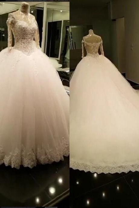 Bridal Dress Off Shoulder Long Sleeves Lace Appliqued Puffy Ball Gown Layers Wedding Dress JD49