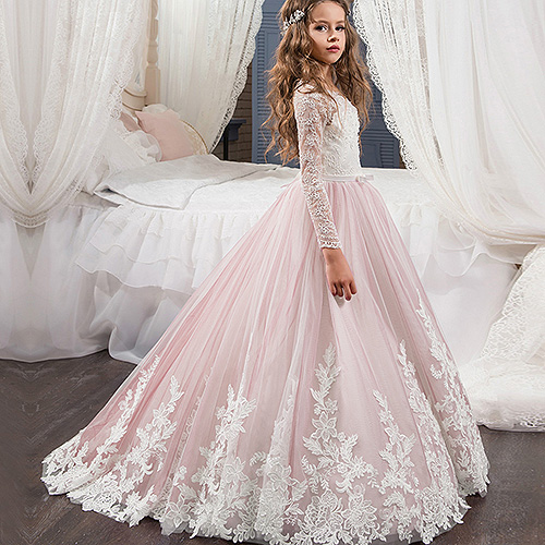 New Long Sleeve Cute Flower Girl Dress Kids Brithday Party Dress Princess Dress For Wedding Formal Occasion