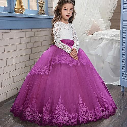 New Applique Bow Long Sleeve Ball Gown Cute Flower Girl Dress Kids Brithday Party Dress Princess Dress For Wedding Formal Occasion