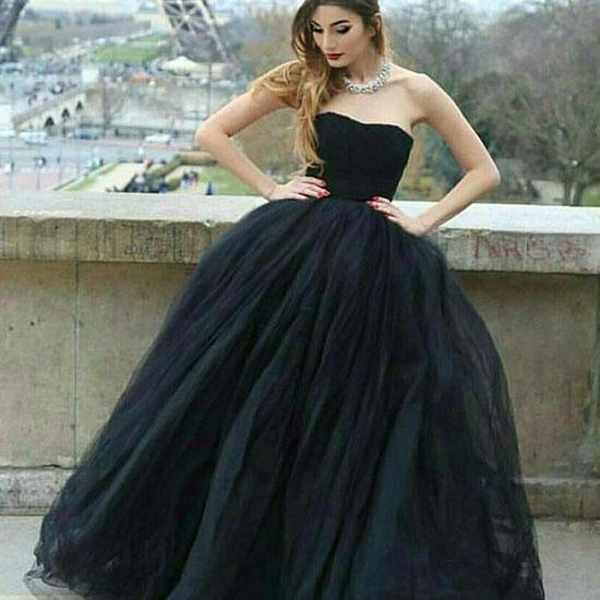 Sexy Black Strapless Ball Gown Prom Dress Evening With Bow Dress Party Dress Bridesmaid Dress Wedding Occasion Dress Formal Occasion Dress