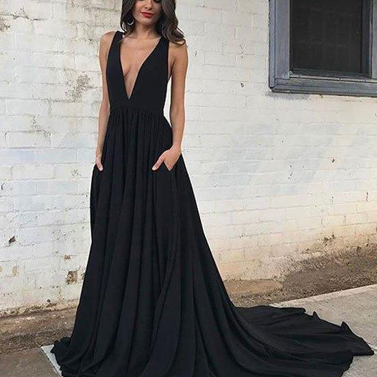 Sexy Full length V neck Chiffon Prom Dress , Evening Dress , Party Dress , Bridesmaid Dress , Wedding Occasion Dress , Formal Occasion Dress