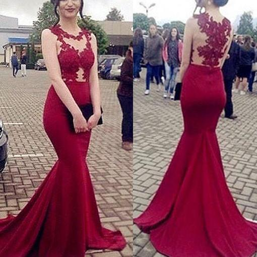 Sexy Full length Red Lace Prom Dress , Evening Dress , Party Dress , Bridesmaid Dress , Wedding Occasion Dress , Formal Occasion Dress