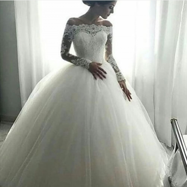Plus Size Sexy White Long Sleeve Wedding Dress Party Dress Prom Dress Evening Dress