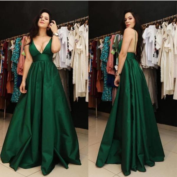 Plus Size Sexy Green V Neck Chiffon Long Wedding Dress Party Dress Prom Dress Evening Dress