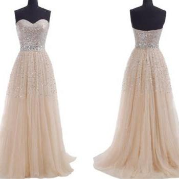 2019 plus size modest Champagne Prom Dresses sequins sweeheart zipper or lace up Long Evening Part dress custom made