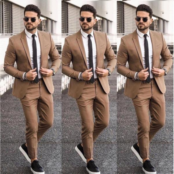 Elegant Cheap Khaki Men Suit Blazers For Party Prom 2 Pieces Jacket Pants Groom Wedding Suits Notched Lapel Mens Tuxedos