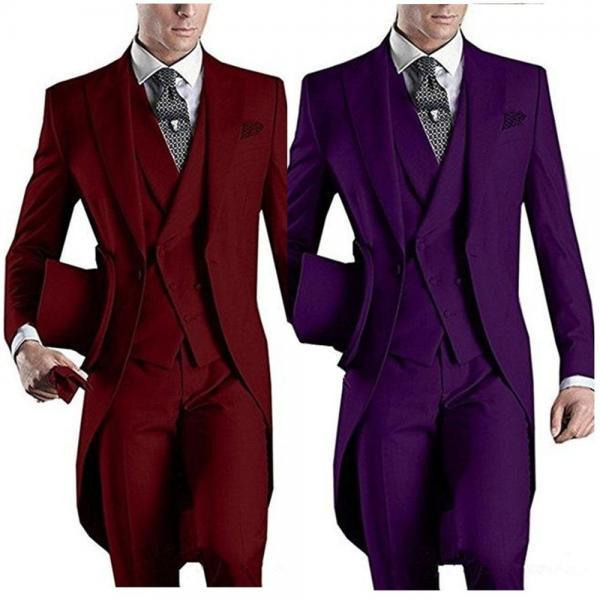 Formal Custom Design White/Black/Grey/Burgundy/Blue Tailcoat Men Party Groomsmen Suits For Wedding Tuxedos Jacket Pants Vest