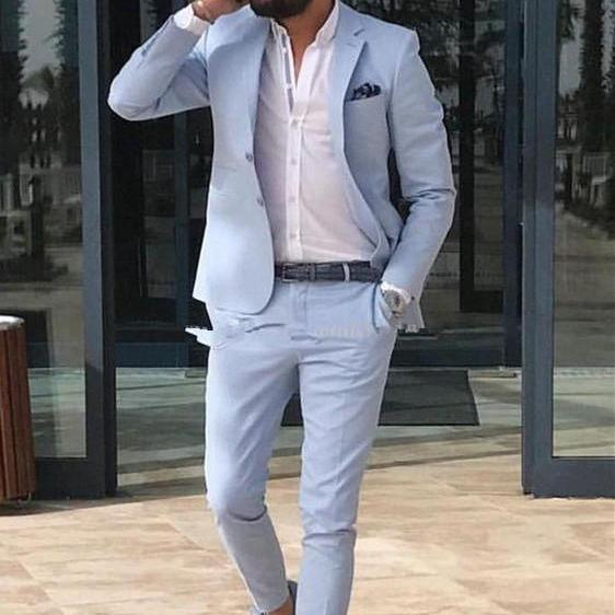 Light Sky Blue Slim Fit Mens Prom Suits Notched Lapel Groomsmen Beach Wedding Tuxedos For Men Blazers Two Pieces (Jacket Pants)