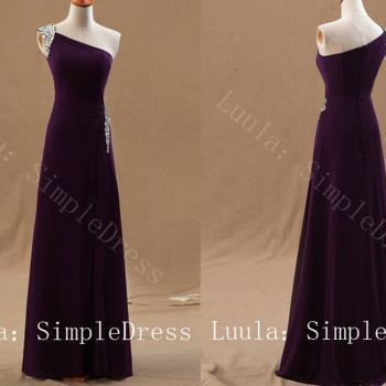 cheap bead sexy Purple Sleeveless one shoulder chiffon unique prom dresses long formal evening dress/ party dress / women dress
