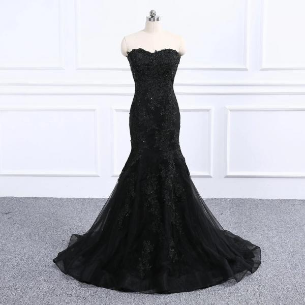 Black Strapless Full Length Wedding Dress Prom Dress Evening Dress Formal Occasion Party Dress