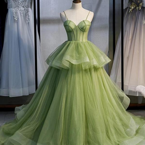 Green Strapless Full Length Wedding Dress Prom Dress Evening Dress Formal Occasion Party Dress