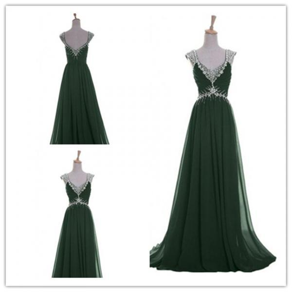 Fashion Chiffon V neck prom Dresses evening dress L94