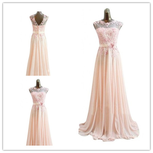 Fashion lace applique pink full length prom Dresses evening dress L97