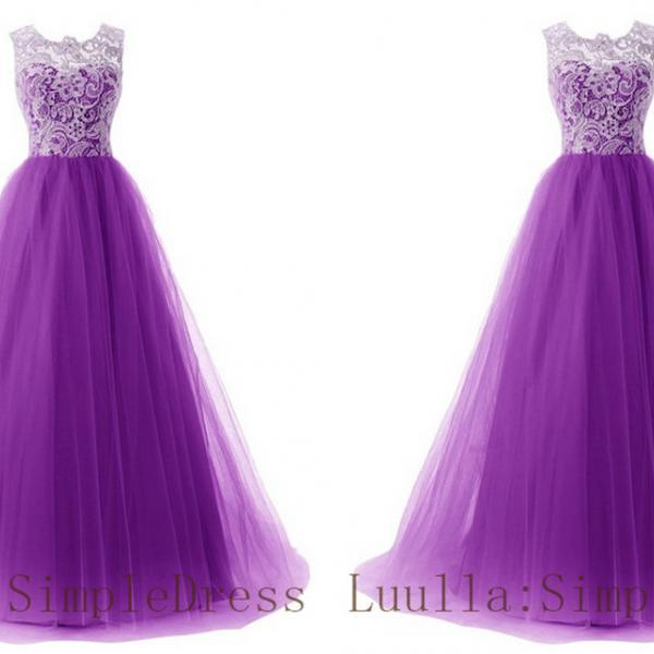 Purple A line lace tulle cap shoulder full length prom dress Bridesmaid Dresses Evening Dresses A1