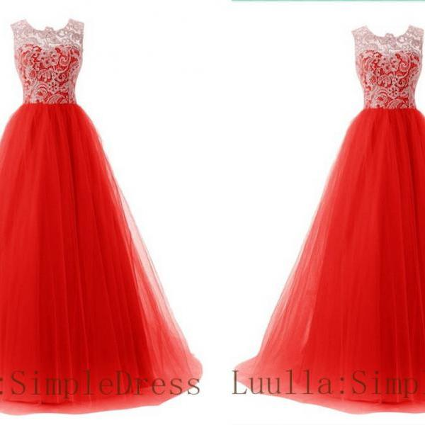 Red A line lace tulle cap shoulder full length prom dress Bridesmaid Dresses Evening Dresses A1