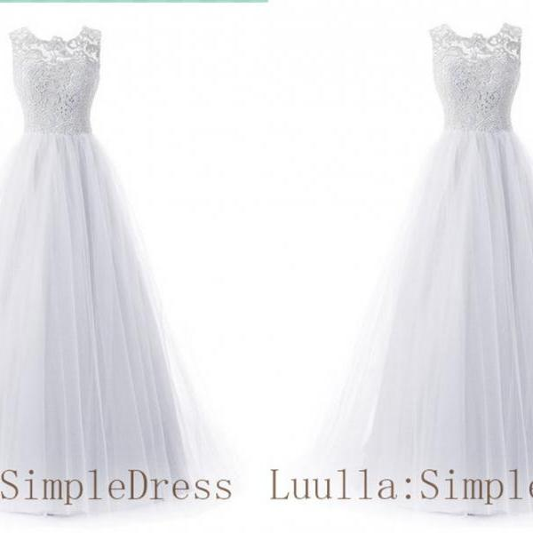white A line lace tulle cap shoulder full length prom dress Bridesmaid Dresses Evening Dresses A1
