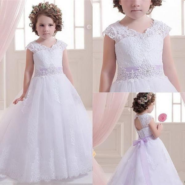 Lace Tulle Cap Shoulder Applique Floor Length Dress Wedding Party Pageant Dress Princess Dress