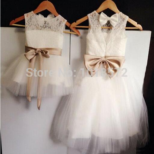 2016 New Real Flower Girl Dresses Bow Sashes Keyhole Party Communion Pageant Dress for Wedding Little Girls Kids/Children Dress W122