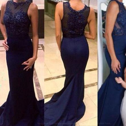 Mermaid Navy Blue Prom Dresses 2016 New Sexy Scoop Beada Long Chiffon Court Train Mermaid Party Dresses PP30