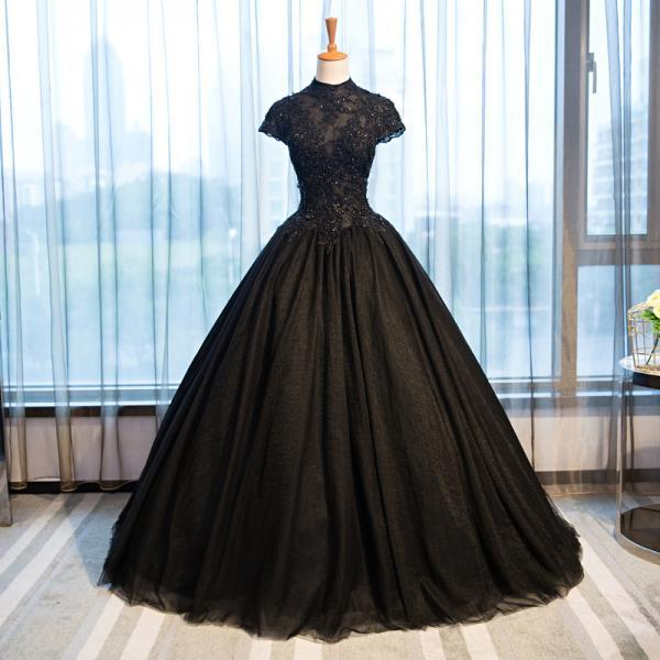 Vintage High Neck Black Wedding Dresses Cap Sleeves Applique Lace Beading Corset Ball Gown Wedding Dress Gothic Bridal Gown C60