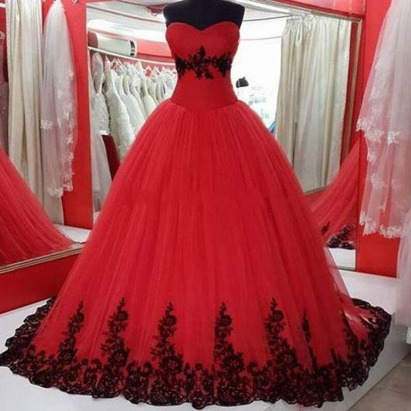 Red Plus Size Wedding Dresses Real Pictures Ball Gown Sweetheart Gothic Black Lace Princess Cheap Wedding Gowns C64