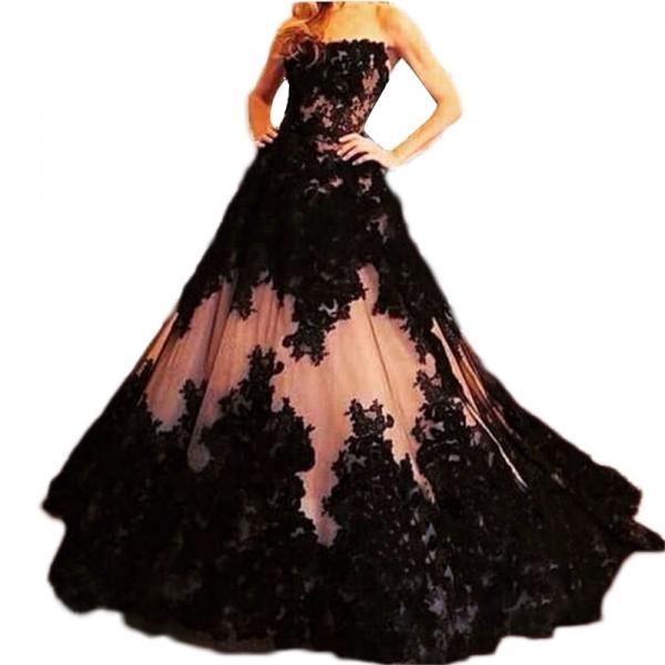 Gorgeous Black Lace Applique And Nude Tulle strapless Ball gown full length heavily formal Bridal Gowns Wedding Dress C89