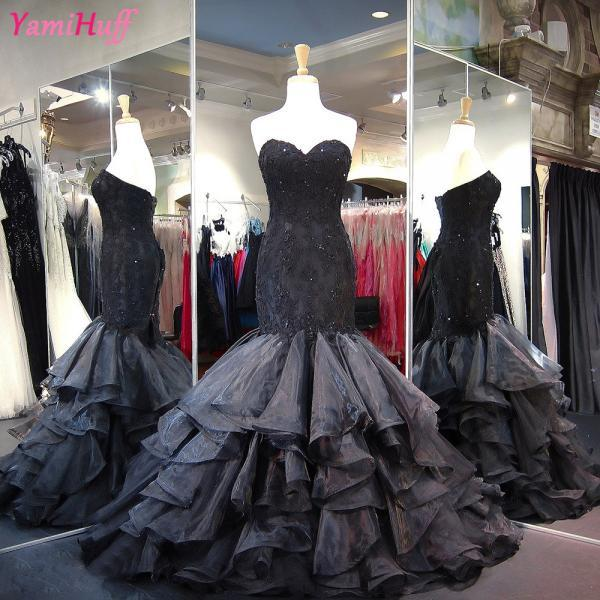 Gothic Black Wedding Dress Mermaid Organza Newest Strapless Lace Bridal Wedding Gowns Corset Back C95