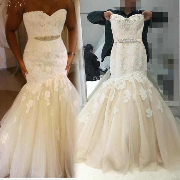 New Fashion Champagne With Ivory Color Wedding Dress Mermaid Real Pictures JD16