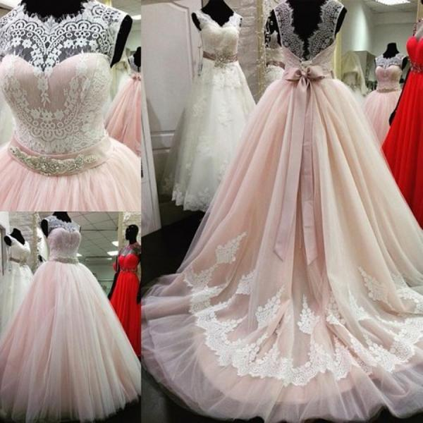 High End Quality Cap Sleeve Lace Crystal Beads Ribbon Sash Low Back Pink Wedding Dress JD22