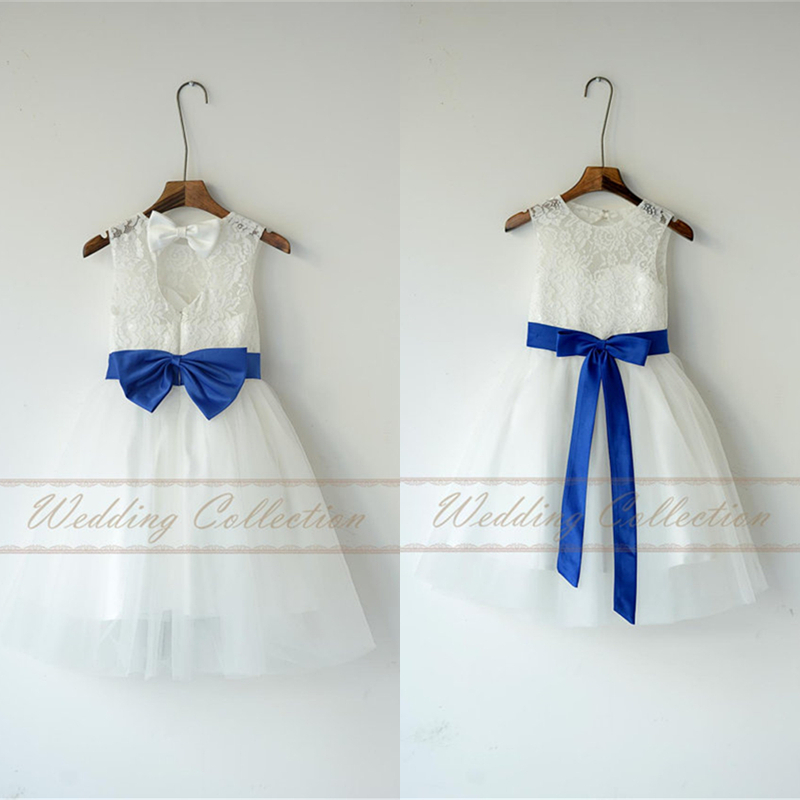 cd212d55a4e Ivory White Lace Tulle Flower Girl Dress With Royal Blue Sash and Bow W68